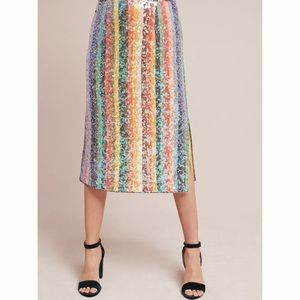 Anthropologie Sequined Palette Midi Skirt
